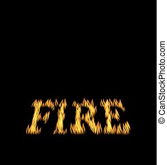 Fire Flame Font Isolated on Black Background