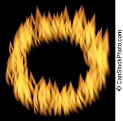 Fire Flame in Circular Frame Isolated on Black Background