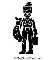 illustration, fish, isolé, signe, vecteur, pêcheur, fond, icône, noir