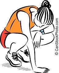 illustration, fitness, fatigué, femme