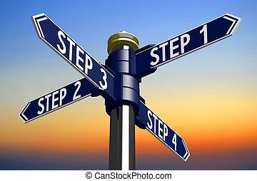 illustration/, flèches, -, quatre, rendre, étapes, poteau indicateur, 3d