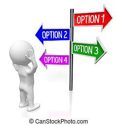 illustration/, flèches, -, quatre, rendre, poteau indicateur, options, 3d