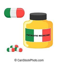 illustration., flag., médico, italy., patriótico, vetorial, tabuletas, garrafa, medicina, pílulas, italiano