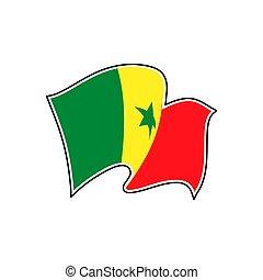 illustration., flag., national, sénégal, vecteur, dakar