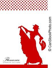 illustration., flamenco, affiche, femme, espagnol