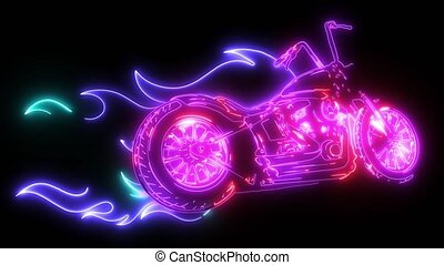 illustration Flaming Bike Chopper Ride Front View - Flaming...