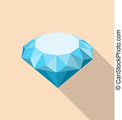 Flat Icon of Diamond with Long Shadow