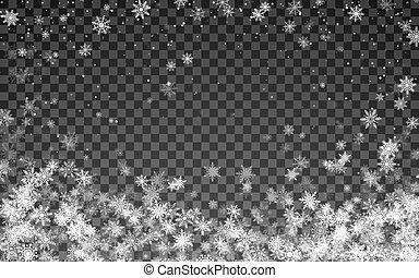 illustration, flocons neige, magie, arrière-plan., noël, tomber, snowfall., transparent, blanc, vecteur