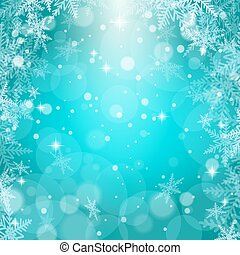 illustration., flocons neige, noël, vecteur, arrière-plan., bleu