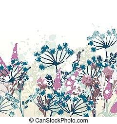 illustration, floral, vecteur, conception, main, dessiné, beau
