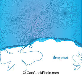 Illustration Flower and butterfly background