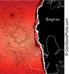 Illustration Flower and butterfly cardboard