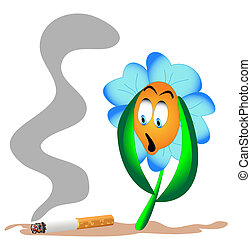 flower from beside lying cigarette - illustration flower...