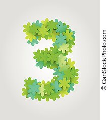 illustration., flowers., nombre, numbers., 3, vecteur, vert, floral