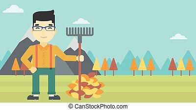 illustration., foglie, autunno, vettore, rastrellamento, uomo
