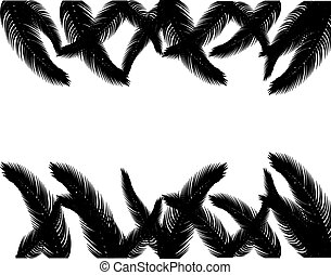 illustration., folhas, experiência., vetorial, palma, sombra, branca