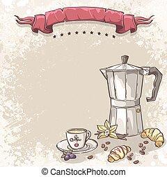 illustration, fond, à, café, tasse café, croissants, mûres,...