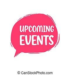 illustration, fond, blanc, upcoming, bulle, vecteur, parole, events.
