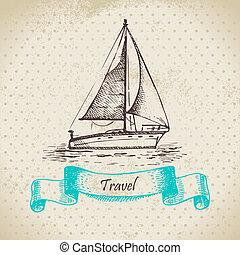 illustration, fond, boat., vendange, main, dessiné