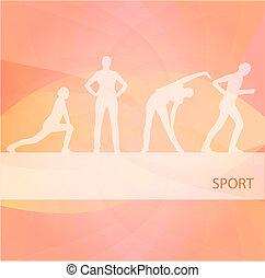 illustration, fond, exercices, femmes, gymnastique