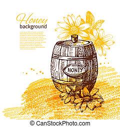 illustration, fond, miel, croquis, main, dessiné