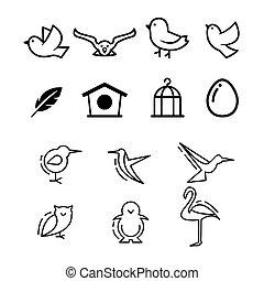 illustration, fond, oiseaux, vecteur, icône, isolé