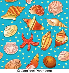 illustration, fond, seamless, etoile mer, coquilles