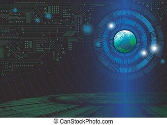 illustration, fond, vecteur, mondiale, concept, technologie