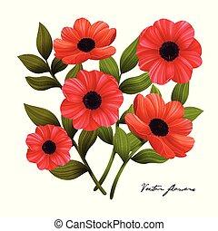 illustration., fondo., flowers., vettore, papaveri, bianco rosso