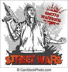 illustration., fondo., guerreros, gángster, vector, grafiti, sucio, gueto