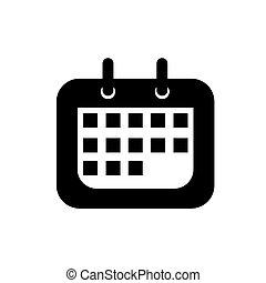 illustration., fondo., vettore, nero, calendario, bianco, icona