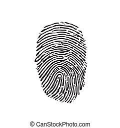 illustration., fondo., vettore, nero, impronta digitale, bianco, icona