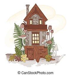 illustration, forêt, nain, automne, ensemble, nature, vecteur, maison