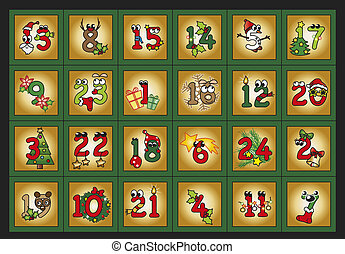 illustration for advent calendar with funny numbers