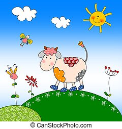 Illustration for children - Cow - Colorful graphic...