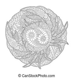 Illustration for coloring book with cancer symbol
