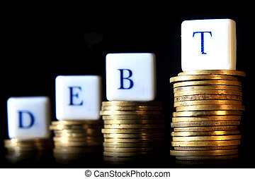 illustration for debt at lack background with reflection at...