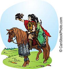 elfs riding on horse