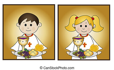 illustration for first communion for boy and girl
