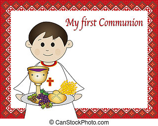 first communion - illustration for first communion for boy