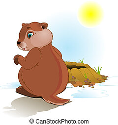 Illustration for Groundhog Day. Groundhog looking at his shadow.