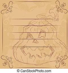 Illustration for Halloween, Pumpkin.