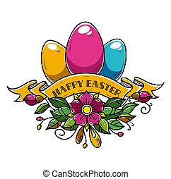 Illustration for Happy Easter. Composition of three Easter...