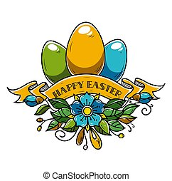 Illustration for Happy Easter. Holiday eggs decorated of...