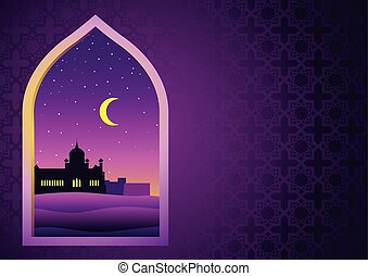 Illustration for month of Ramadan, Mosque on desert seen...