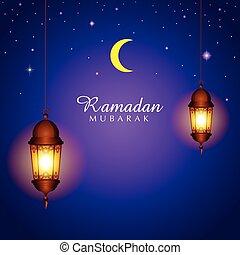 Illustration for month of Ramadan, symbolic crescent moon...
