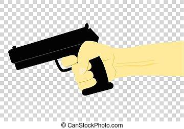 Illustration for Murder or Criminal, Hand Holding Gun, at Transparent Effect Background