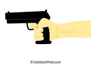 Illustration for Murder or Criminal, Hand Holding Gun, Isolated on White