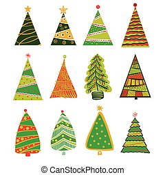 Illustration for party of happy new year 2017. Vector christmas decoration on a white background with set of color christmas xmas tree.