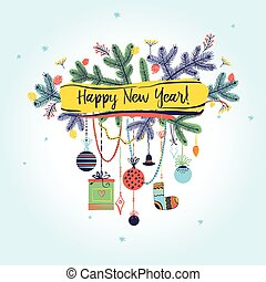 Illustration for party of happy new year 2017. Vector christmas